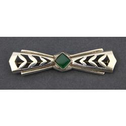 Art Nouveau silver brooch with a gemstone