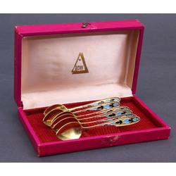 Apzeltīta sudraba karotītes oriģinālajā kastē ar emalju (6 gab.)