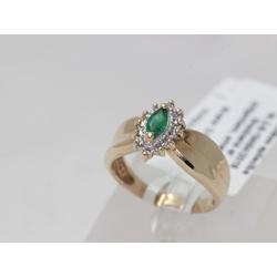 Золотое кольцо с 12 бриллиантами и изумрудами