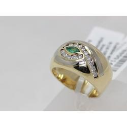 Золотое кольцо с 15 бриллиантами, изумрудом