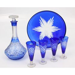 Colored glass set - carafe, 4 glasses, plate