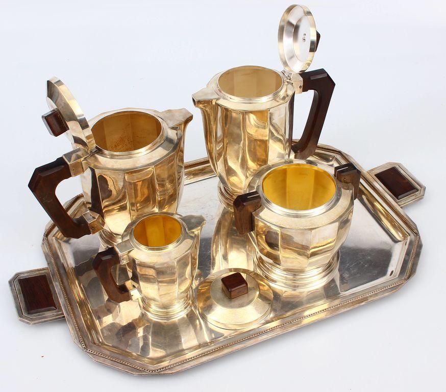 Apsudrabota metāla tējas/kafijas servīze - piena kanna, cukurtrauks, kafijas kanna, tējkanna, paplāte