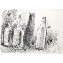 Klusā daba ar pudelēm