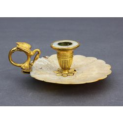 Bronze candlestick with mother of pearl