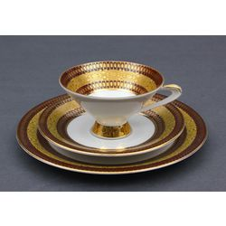 Porcelain plate and cup with saucer