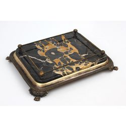 Brass tray with marble finish