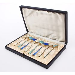 Silver spoons with enamel 8 pcs.with a box