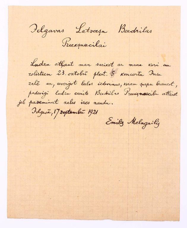 Vēstule Jelgavas Latviešu Biedrības prieksniecībai, Emils Melngailis