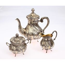 Silver set - coffee pot, milk bowl, sugar container