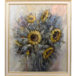 Summer bouquet with sunflowers