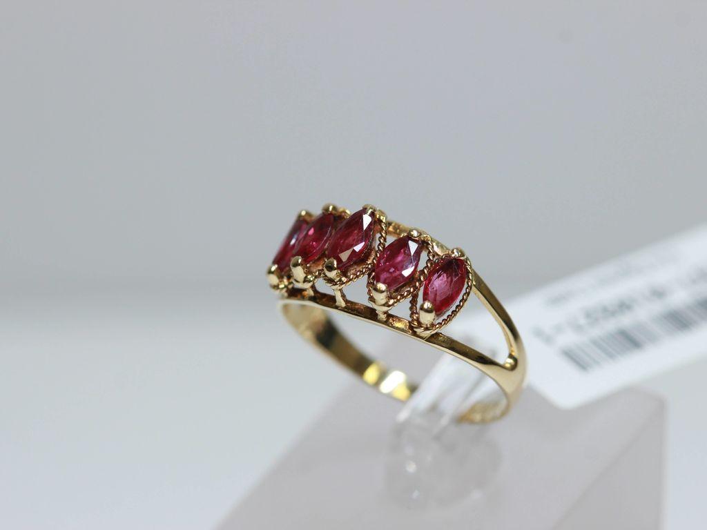 Zelta gredzens ar 5 rubīniem
