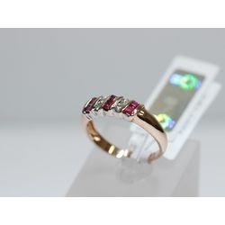 Zelta gredzens ar 4 briljantiem, 6 rubīniem