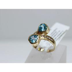 Zelta gredzens ar 10 briljantiem, 2 topāziem