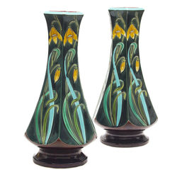 Two French Art Nouveau majolica vases