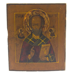 Wooden icon with painting from early 20th century