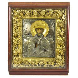 19.gadsimta apsudrabota metāla ikona ar zeltījumu kijotā