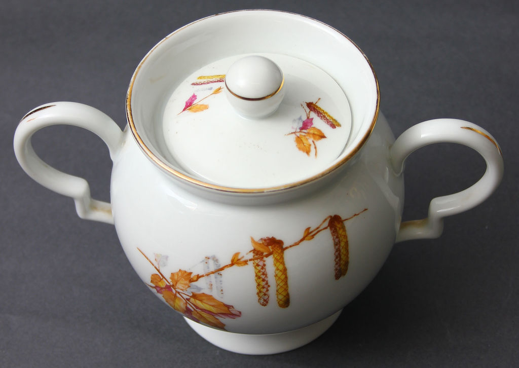 Porcelāna komplekts - 2 tasītes, 1 apakštasīte, cukurtrauks, tējkanna