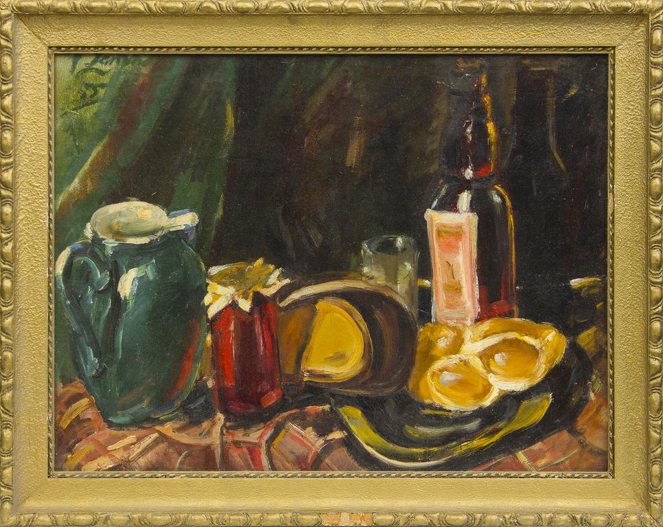 Still life with jars and bottle