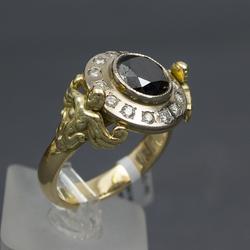 Vīriešu 585. proves zelta gredzens ar briljantiem