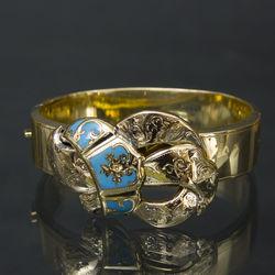 Zelta rokassprādze ar emalju