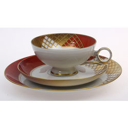 Porcelain cup with saucers