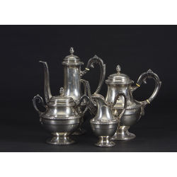 Silver set - 2 pots, cream bowl and sugar bowl