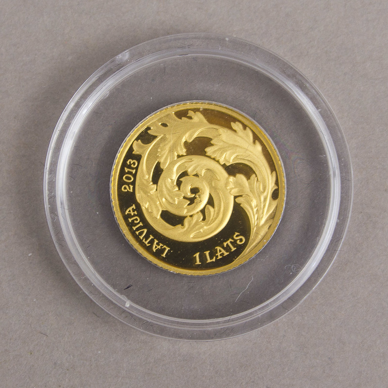 Zelta jubilejas 1 lata monēta kastītē