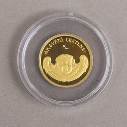 Gold Jubilee 1-lats coin in