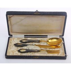 Sudraba galda piedurumu komplekts oriģinālajā kastītē - nazis, dakša, karote