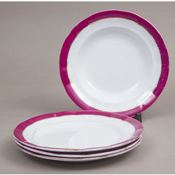Porcelain dish set - 3 plates, 1 soup bowl