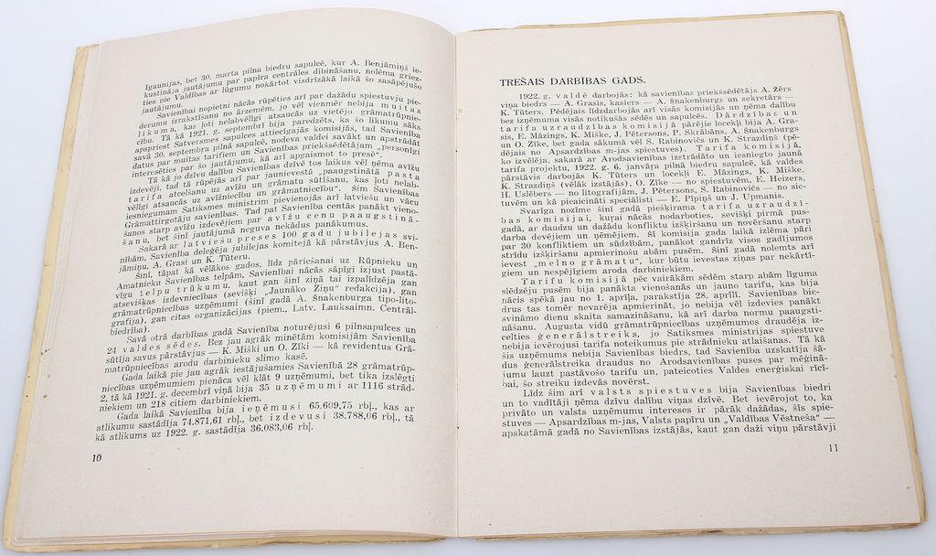 Latvijas Grāmatrūpnieku biedrības 10 gadi(1920-1930)