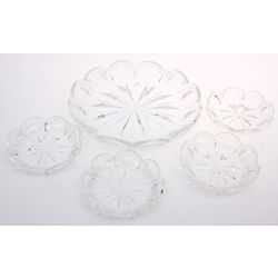 Set of Crystal Served Dishes - 1 Large, 4 Small