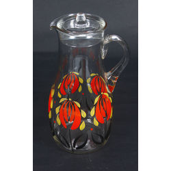 Glass jug with painting