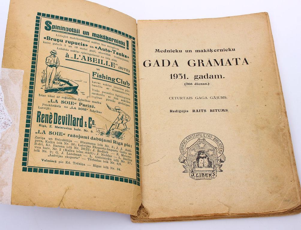 Mednieku un mašķernieku gada grāmata 1931.gadam(366 dienas)