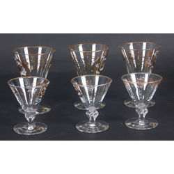 Glass glasses 6 pieces (3 large, 3 small)