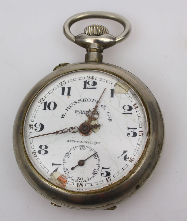 Apsudrabota metāla kabatas pulkstenis W.Rosskopf