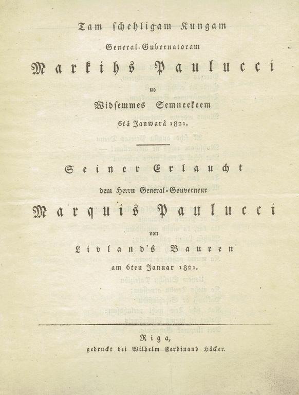 Ģenerālgubernatoram Mārtiņam Paulucci no Vidzemes zemēm (buklets)