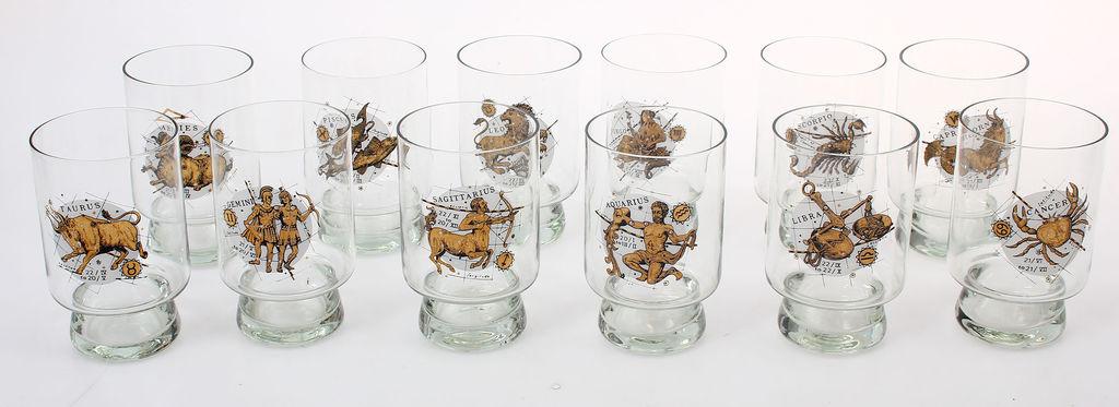 Stikla glāzes ar zodiaka zīmēm 12 gab