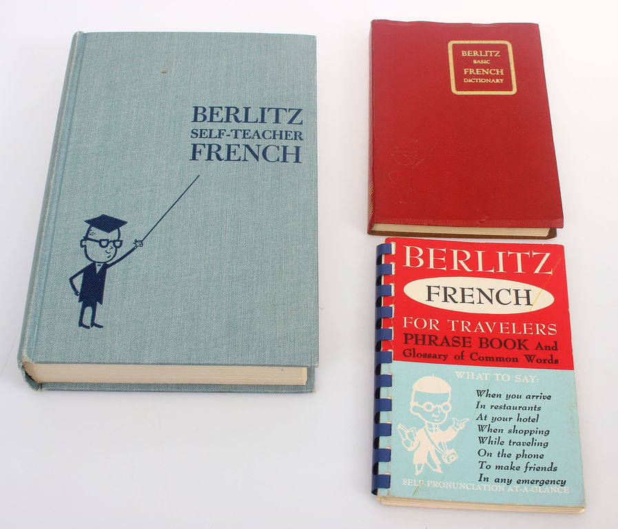 3 grāmatas - Berlitz self-teacher french, Berlitz basic french dictionary, Berlitz fench for travelers