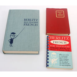 3 книги - Berlitz self-teacher french, Berlitz basic french dictionary, Berlitz fench for travelers