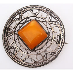 Amber pendant with silver finish