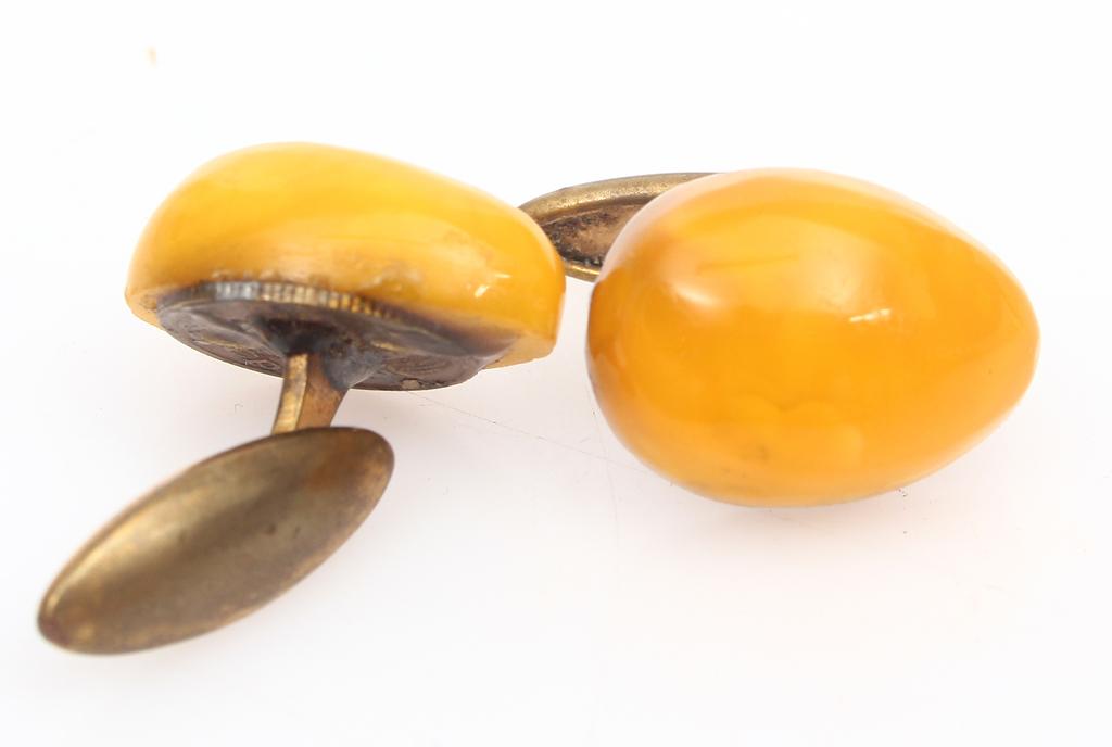100% натуральные янтарные запонки