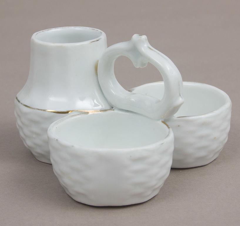 Porcelāna garšvielu trauks trīsdaļīgs