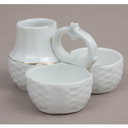 Porcelain spice bowl consists from three-piece