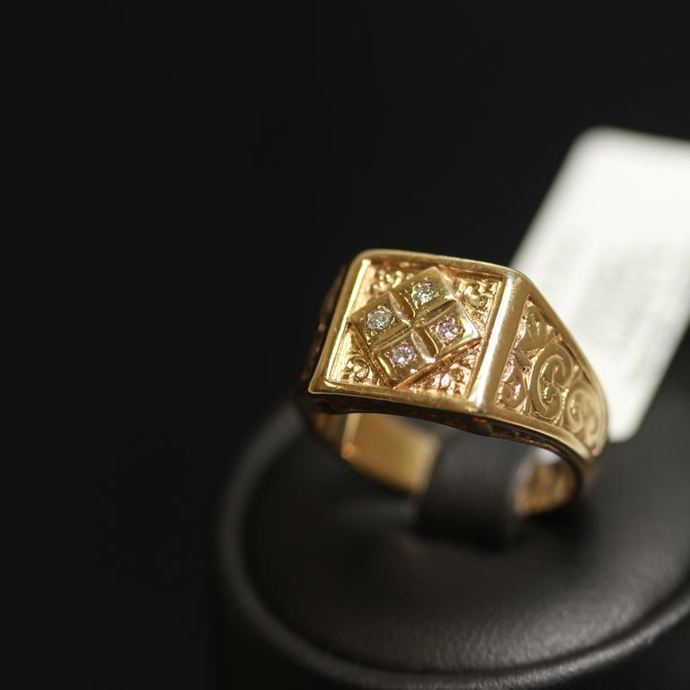 Zelta gredzens ar 4 briljantiem