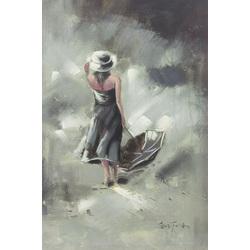 Sieviete ar lietussargu