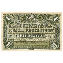 Latvijas valsts kases zīme 1 rublis 1919 (zaļa)