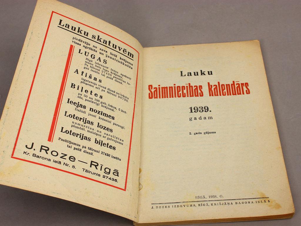 Lauku saimniecība - kalendārs 1939