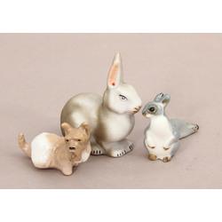 Porcelāna figūriņu komplekts - suns, zaķis un vāvere