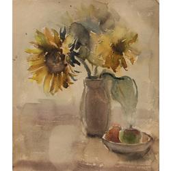 Klusā daba ar saulespuķēm un augļiem